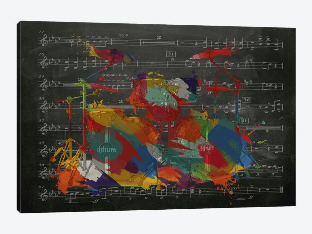 Multi-Color Drums on Black Music Sheet #2 by iCanvas 1-piece Canvas Art Print