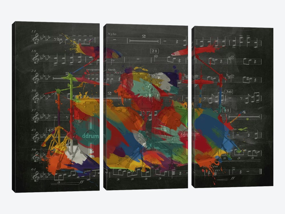 Multi-Color Drums on Black Music Sheet #2 by iCanvas 3-piece Canvas Art Print