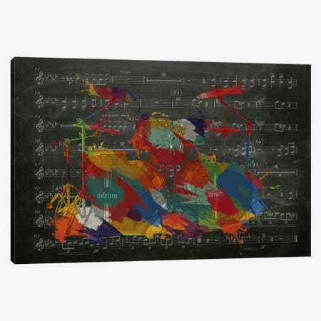 Multi-Color Drums on Black Music Sheet #2 Canvas Print #MIC38} by Unknown Artist Canvas Wall Art