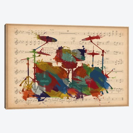 Multi-Color Drums on Music Sheet #2 Canvas Print #MIC40} by Unknown Artist Canvas Art Print