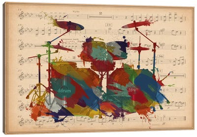 Multi-Color Drums on Music Sheet #2 Canvas Art Print