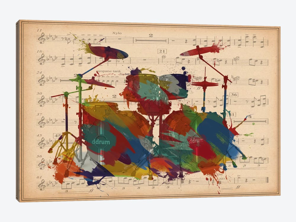 Multi-Color Drums on Music Sheet #2 by iCanvas 1-piece Canvas Wall Art