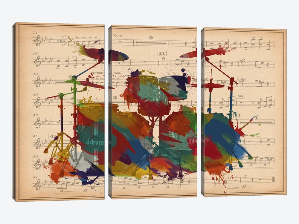 Multi-Color Drums on Music Sheet #2 by iCanvas 3-piece Canvas Artwork