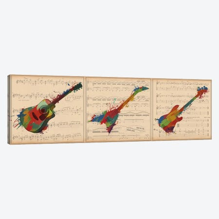 Multi-Color Guitar Trio: Acoustic Guitar, Electric Guitar, Bass Guitar Panoramic Canvas Print #MIC56} by iCanvas Art Print