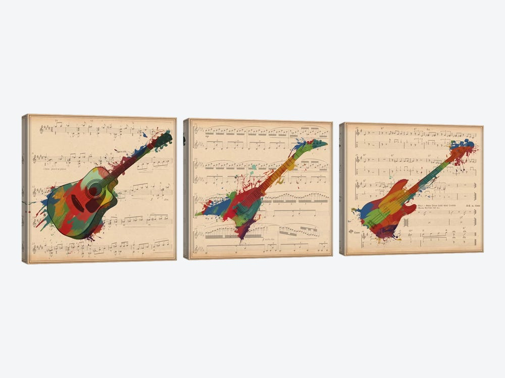Multi-Color Guitar Trio: Acoustic Guitar, Electric Guitar, Bass Guitar Panoramic by iCanvas 3-piece Canvas Art Print