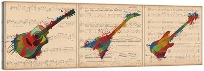 Multi-Color Guitar Trio: Acoustic Guitar, Electric Guitar, Bass Guitar Panoramic Canvas Art Print