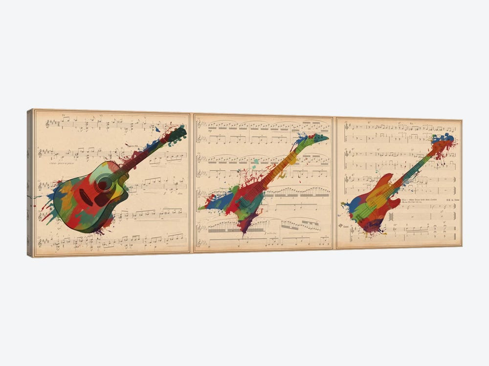 Multi-Color Guitar Trio: Acoustic Guitar, Electric Guitar, Bass Guitar Panoramic by Unknown Artist 1-piece Canvas Art Print