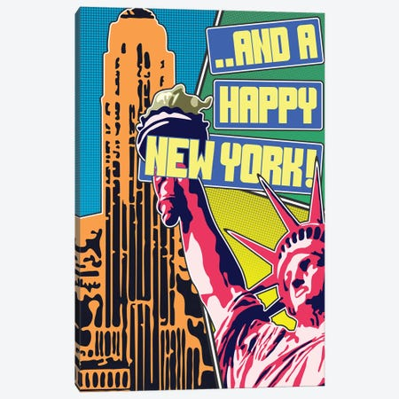 And A Happy New York 3-Piece Canvas #MIE142} by Cristian Mielu Art Print