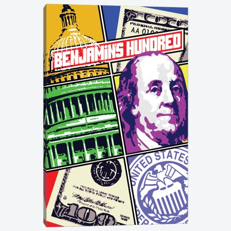 Benjamins Hundred Canvas Print #MIE145} by Cristian Mielu Canvas Art