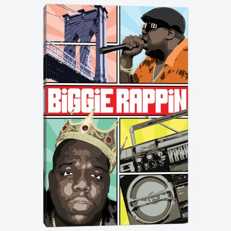 Biggie Rappin Canvas Print #MIE146} by Cristian Mielu Canvas Wall Art