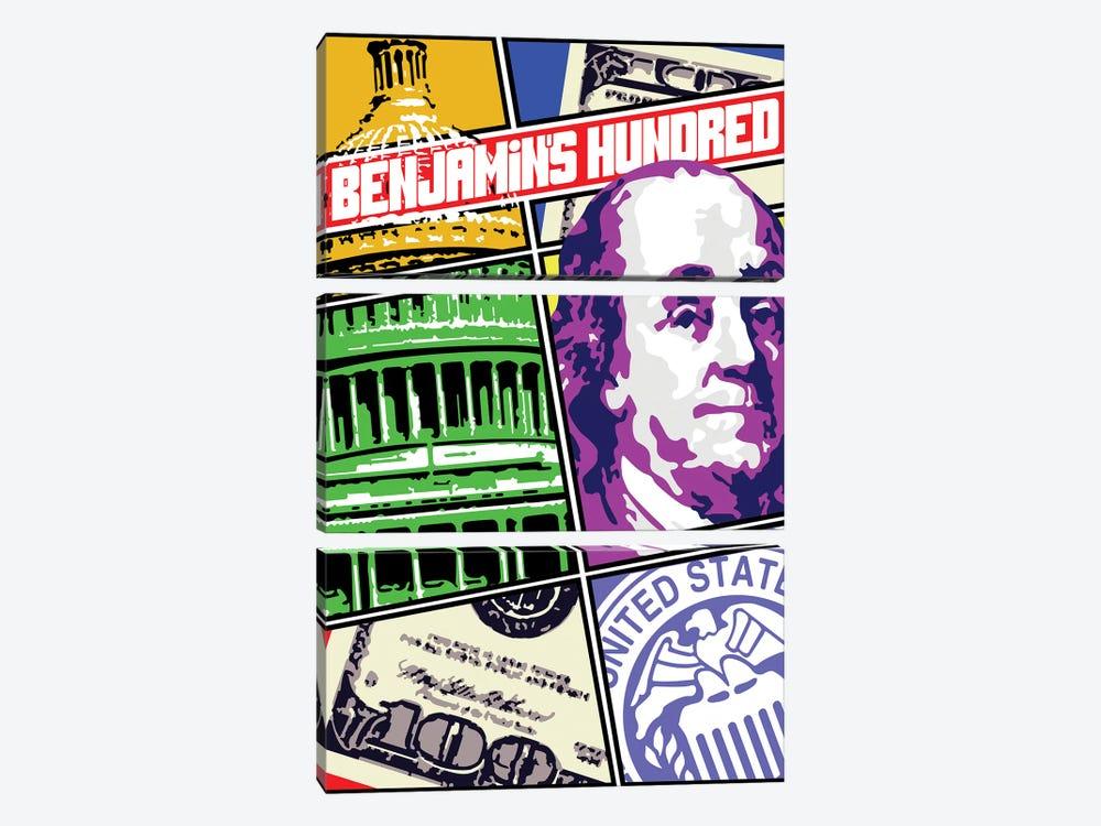 Benjamin Franklin Comic Cover by Cristian Mielu 3-piece Canvas Art