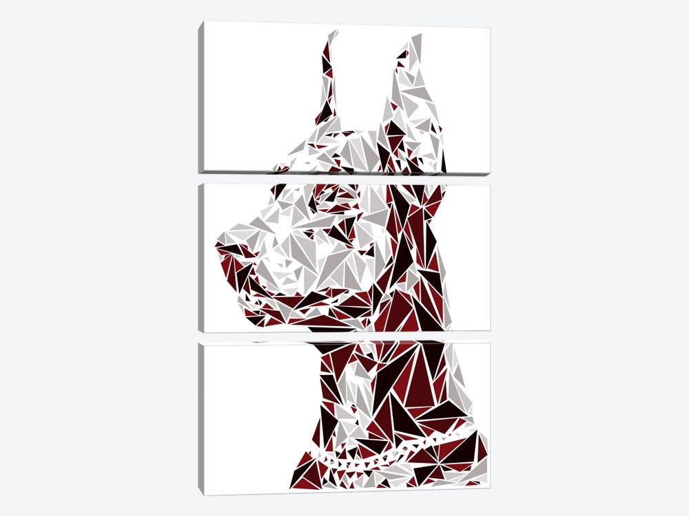 Doberman by Cristian Mielu 3-piece Canvas Print