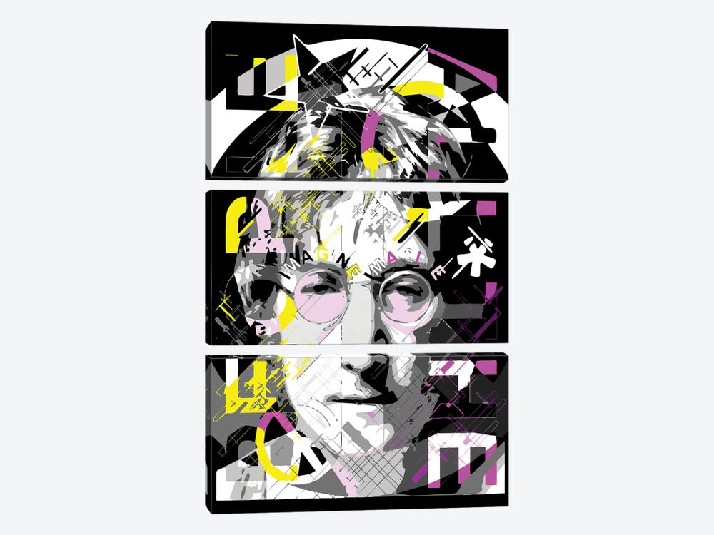 Lennon - Imagine by Cristian Mielu 3-piece Canvas Art