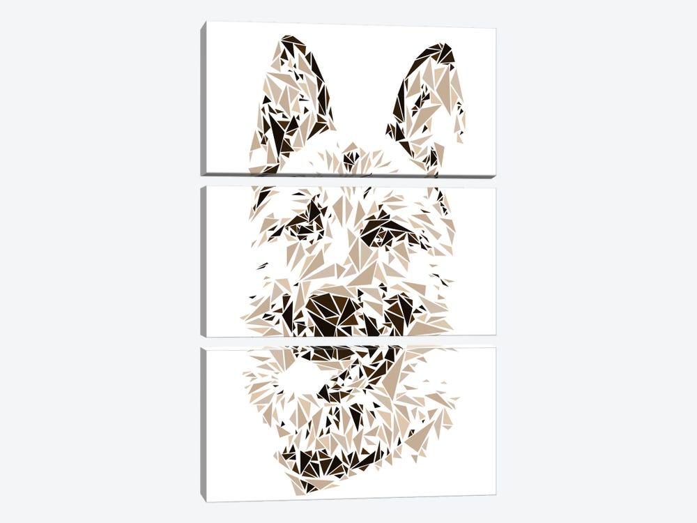 German Shepherd by Cristian Mielu 3-piece Canvas Artwork
