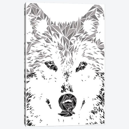 Gray Wolf Canvas Print #MIE31} by Cristian Mielu Canvas Artwork