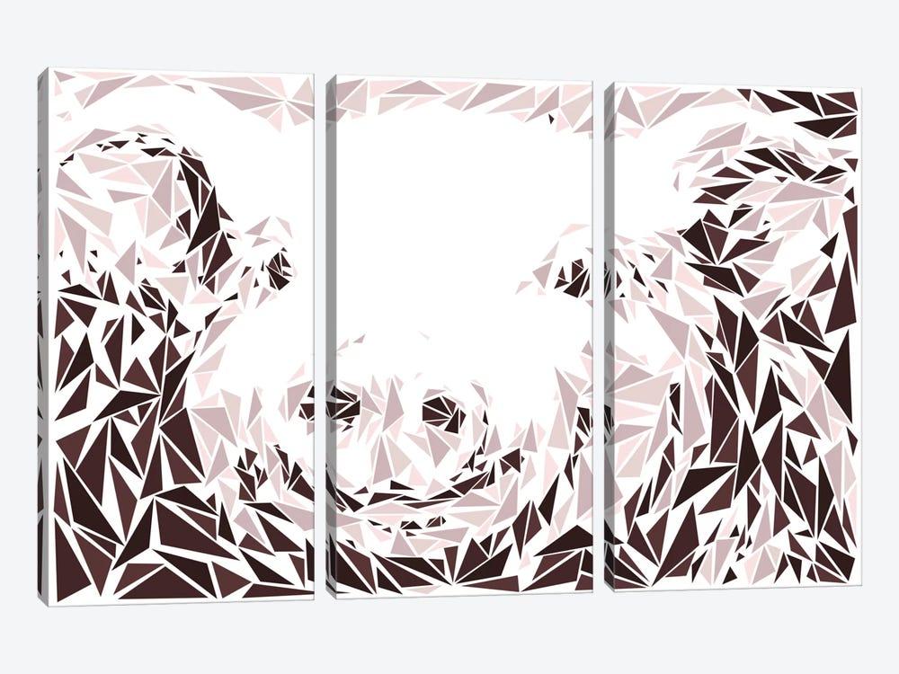 Pink Pig by Cristian Mielu 3-piece Canvas Art Print