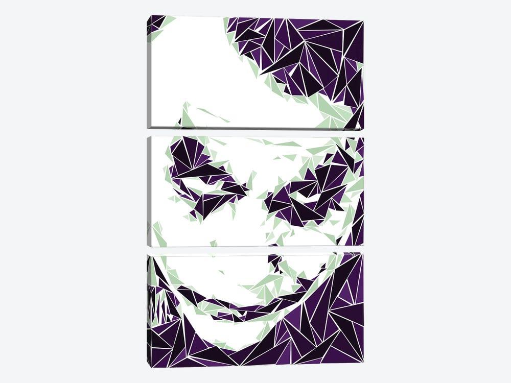 Joker III by Cristian Mielu 3-piece Canvas Wall Art