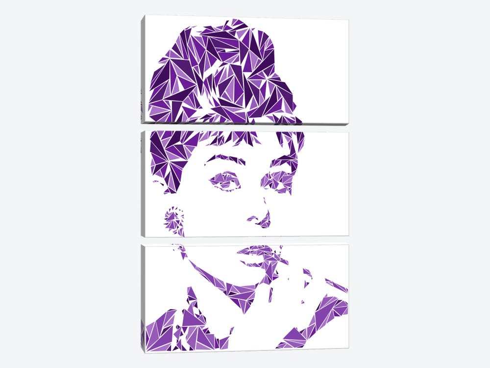 Audrey Hepburn by Cristian Mielu 3-piece Canvas Artwork
