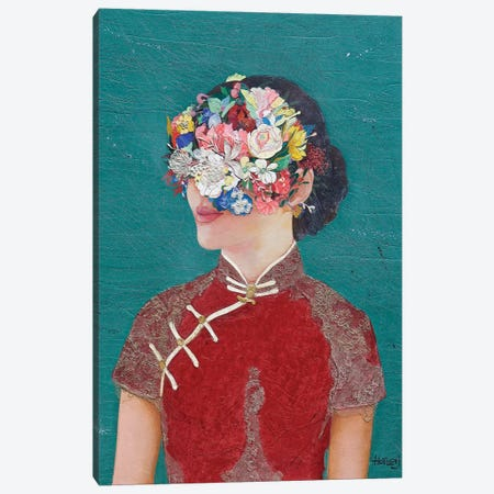 Floral Cheongsam Girl Canvas Print #MIH22} by Minas Halaj Canvas Artwork