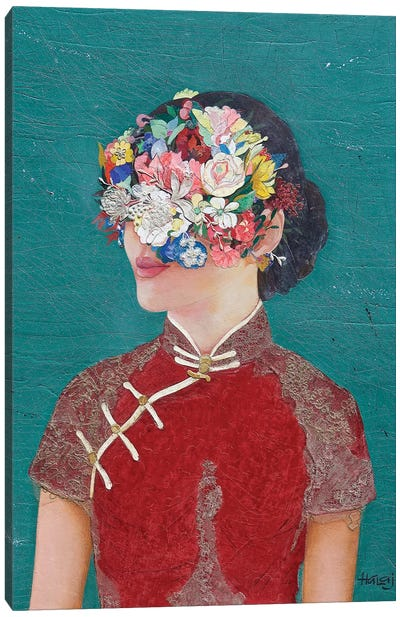 Floral Cheongsam Girl Canvas Art Print