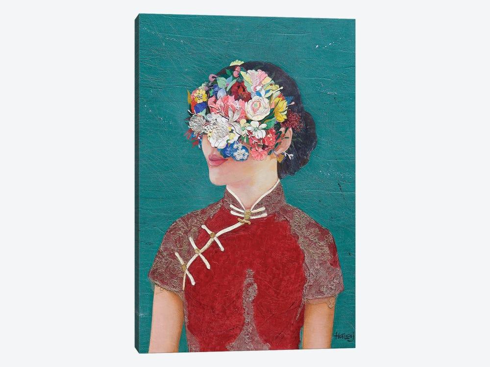 Floral Cheongsam Girl by Minas Halaj 1-piece Canvas Print