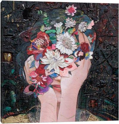 Floral Girl Canvas Art Print