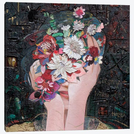 Floral Girl Canvas Print #MIH23} by Minas Halaj Canvas Artwork