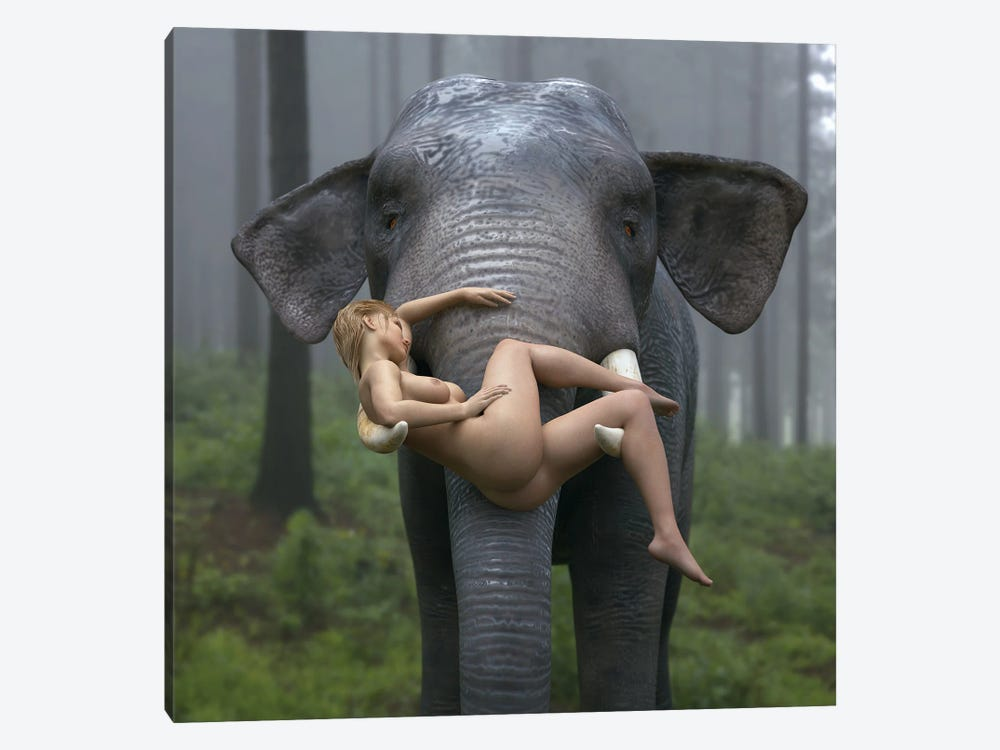 Wild Elephant Carries A Young Woman by Mike Kiev 1-piece Canvas Artwork