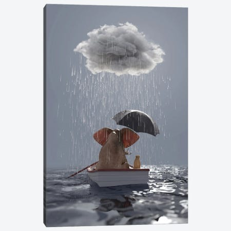 An Elephant And A Dog Float In A Boat In The Rain Canvas Print #MII103} by Mike Kiev Canvas Art Print