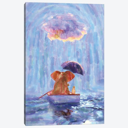 An Elephant And A Dog Float In A Boat In The Rain I Canvas Print #MII112} by Mike Kiev Canvas Artwork