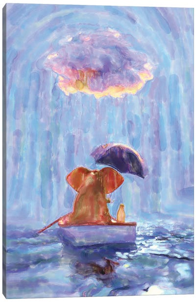 An Elephant And A Dog Float In A Boat In The Rain I Canvas Art Print