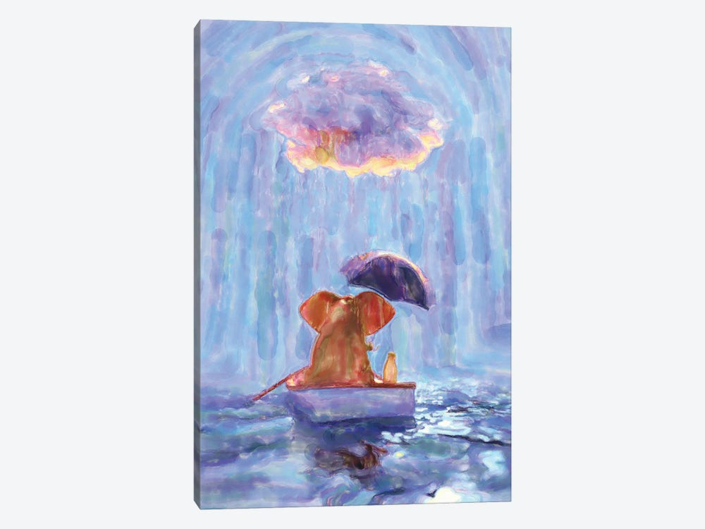 An Elephant And A Dog Float In A Boat In The Rain I by Mike Kiev 1-piece Canvas Art