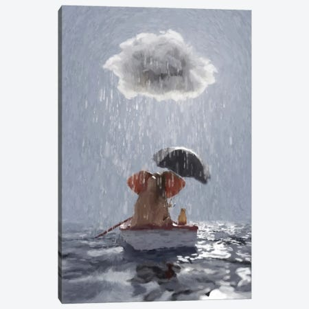 An Elephant And A Dog Float In A Boat In The Rain III Canvas Print #MII114} by Mike Kiev Canvas Print