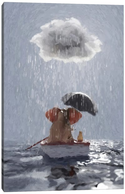 An Elephant And A Dog Float In A Boat In The Rain III Canvas Art Print