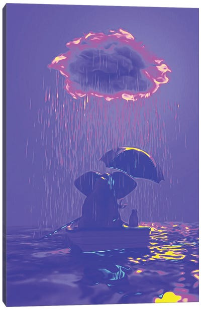 An Elephant And A Dog Float In A Boat In The Rain IV Canvas Art Print