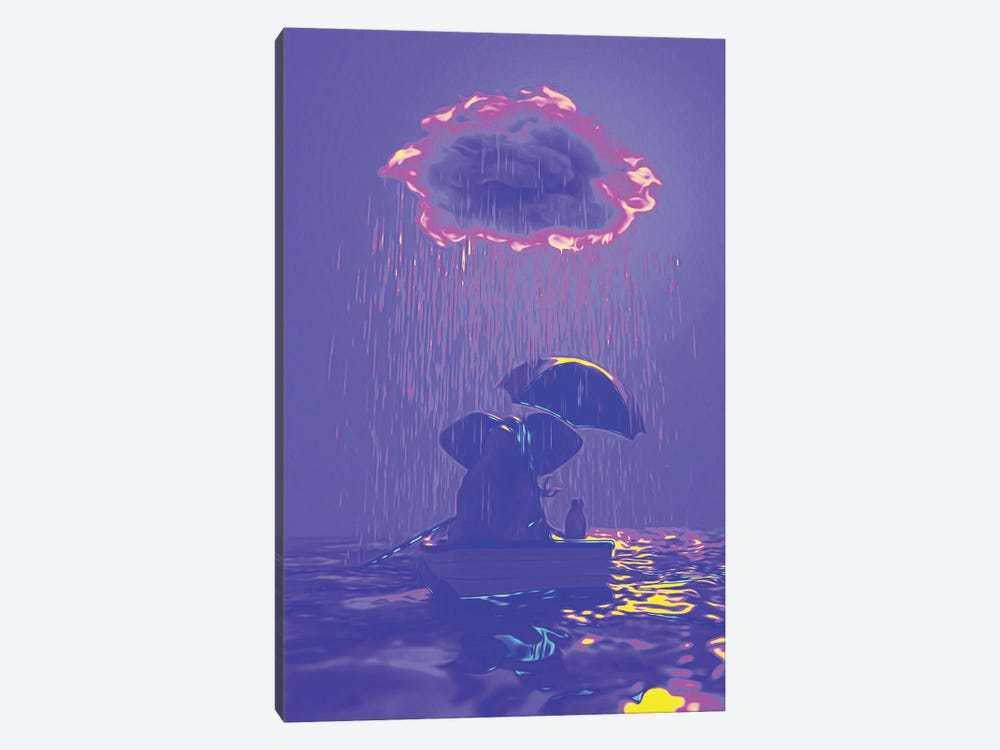 An Elephant And A Dog Float In A Boat In The Rain IV by Mike Kiev 1-piece Canvas Wall Art