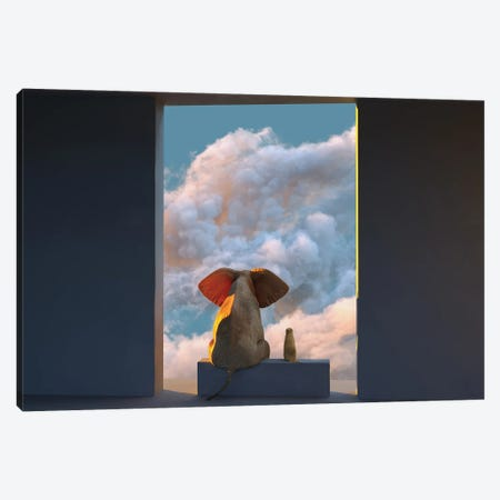 Elephant And Dog Look Through The Door At The Clouds Canvas Print #MII118} by Mike Kiev Canvas Wall Art