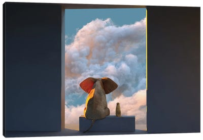 Elephant And Dog Look Through The Door At The Clouds Canvas Art Print