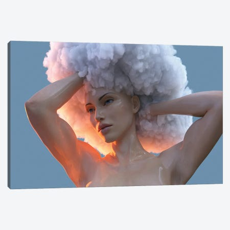 Young Woman With A Cloud On Her Head Canvas Print #MII119} by Mike Kiev Canvas Wall Art