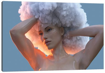 Young Woman With A Cloud On Her Head Canvas Art Print