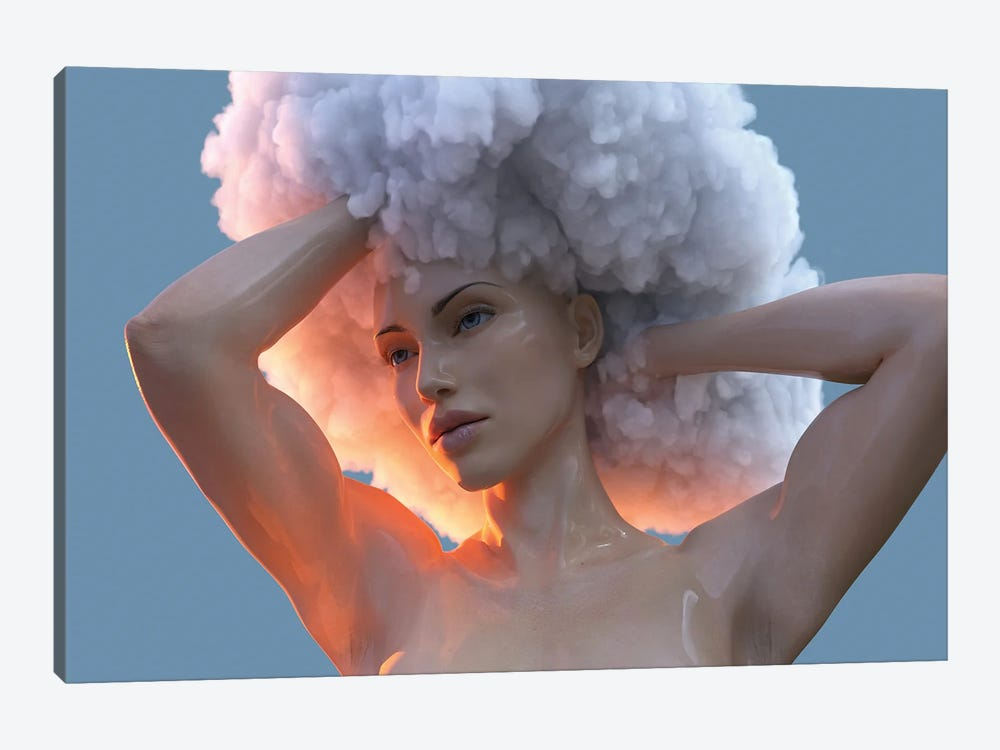 Young Woman With A Cloud On Her Head by Mike Kiev 1-piece Canvas Print
