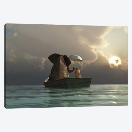 Elephant And Dog Are Floating In A Boat Canvas Print #MII11} by Mike Kiev Canvas Artwork
