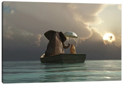 Elephant And Dog Are Floating In A Boat Canvas Art Print