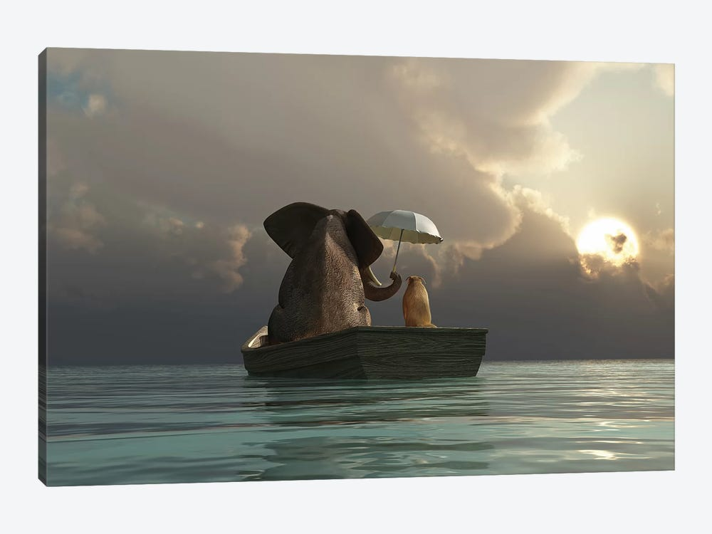 Elephant And Dog Are Floating In A Boat by Mike Kiev 1-piece Canvas Artwork