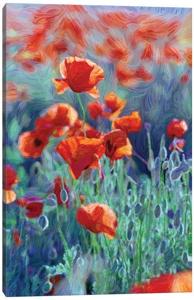 Field Of Red Poppies, Digital Painting Canvas Art Print