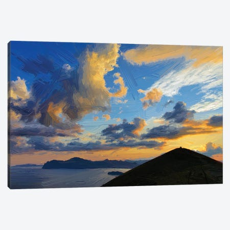 Clouds Over Mountains And Sea At Sunset, Digital Painting Canvas Print #MII125} by Mike Kiev Canvas Art