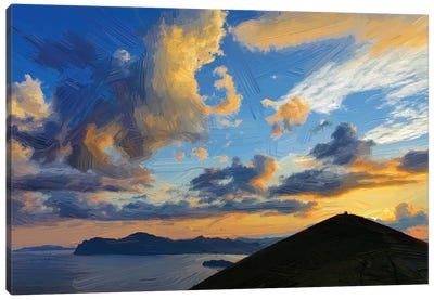 Clouds Over Mountains And Sea At Sunset, Digital Painting Canvas Art Print