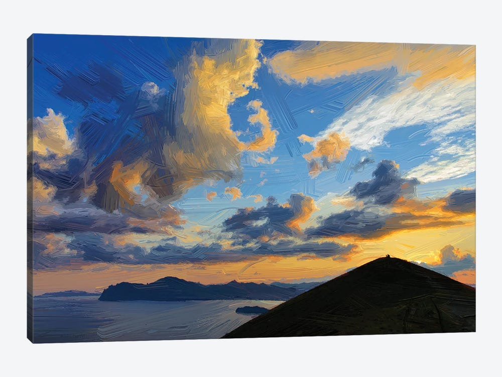 Clouds Over Mountains And Sea At Sunset, Digital Painting by Mike Kiev 1-piece Canvas Art