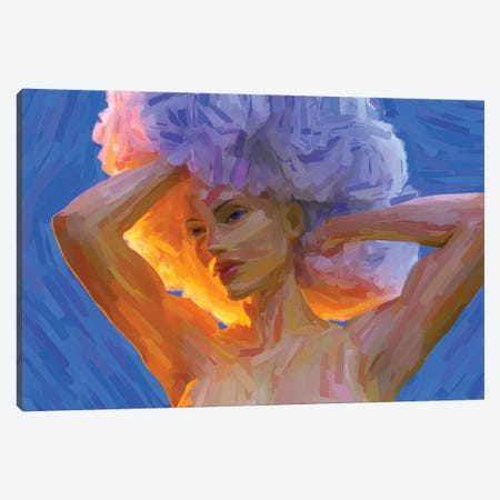 Young Woman With A Lush Curly Hairstyle, Digital Painting Canvas Print #MII126} by Mike Kiev Canvas Wall Art