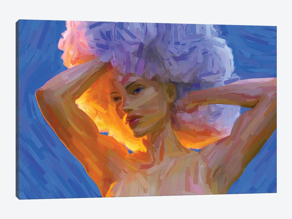 Young Woman With A Lush Curly Hairstyle, Digital Painting by Mike Kiev 1-piece Art Print